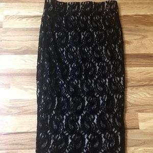 🎈5 for $35! Black Lace Pencil Skirt Sz S